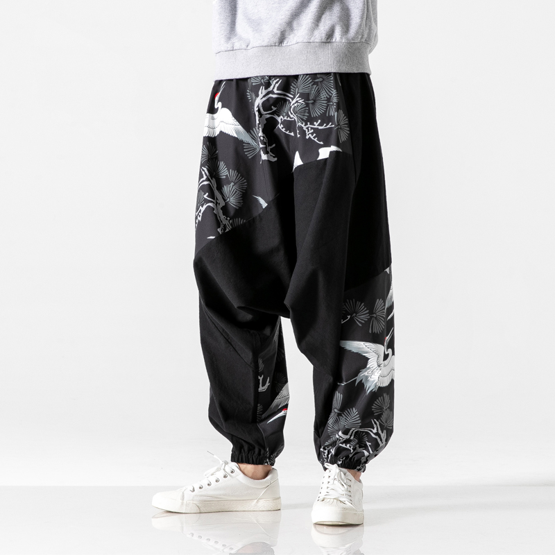Mens Loose Harem Pants Male Spring Causal Chinese Style Baggy Traditional Pants 2020 Fashion Print Cotton  Pants Men