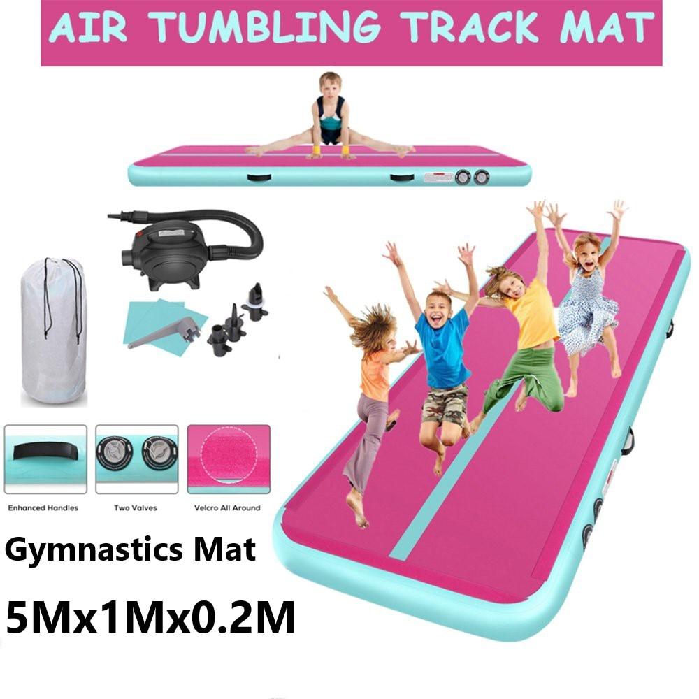 Inflatable Gymnastics Mats Air Track 5M Gym Mat For Tumbling Inflatable Air Track Mat Yoga Mat With Electric Air Pump For Kids