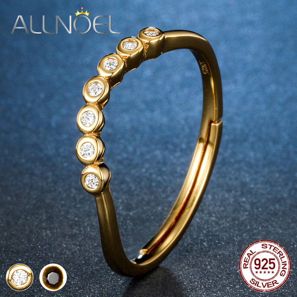 ALLNOEL Silver 925 Jewelry Zircon Diamond Engagement Ring For Women Gold Plated Adustuable Minimalist 925 Sterling Silver Rings
