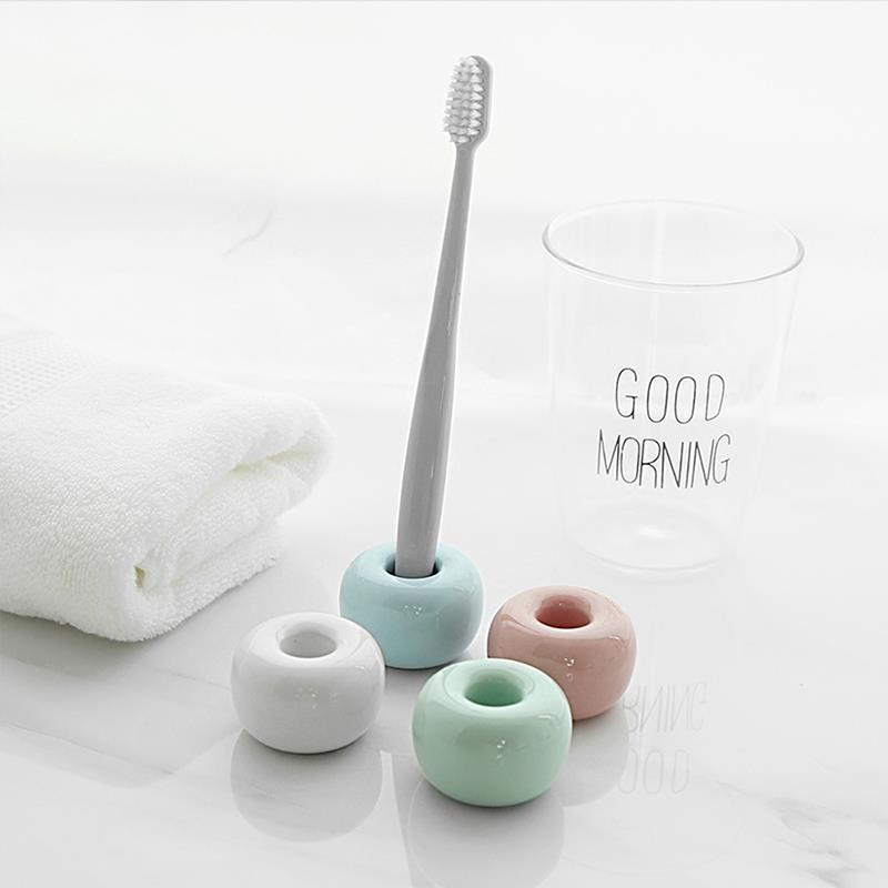 Multi-Function Ceramic Toothbrush Holder Storage Rack Bathroom Shower Tooth Brush Stand Shelf Bath Accessories image
