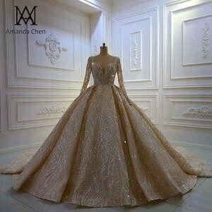 Luxury Long Sleeve Lace Applique Handwork Low Back Champagne Wedding Dress