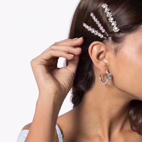 Hair Pins Jewelry Crystal Special Luxury New Brand Collection Runway INS Fashion Trendy 3 Pieces Set Gift for Girls Hairpins