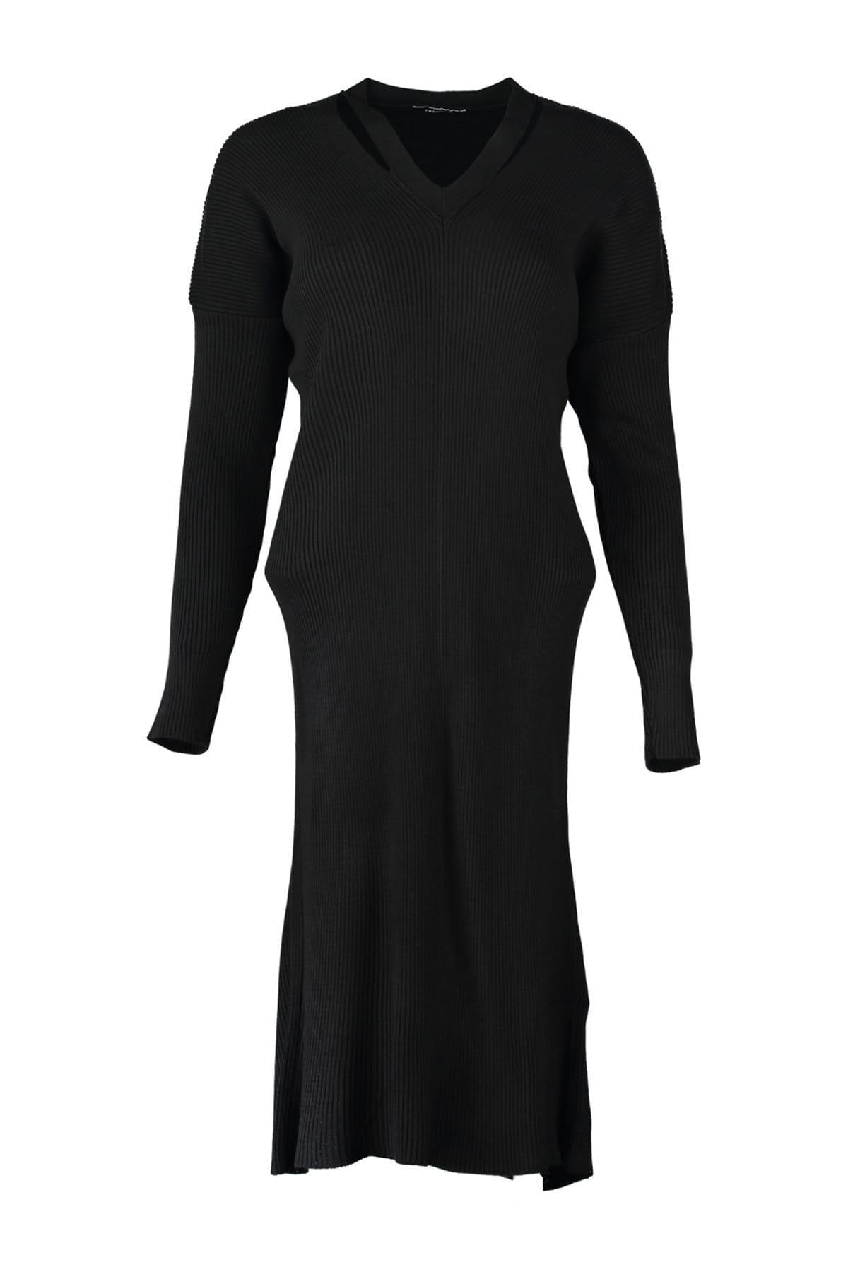 Женское трикотажное платье Trendyol, черный воротник, TWOAW20DU0008|Платья|   | АлиЭкспресс