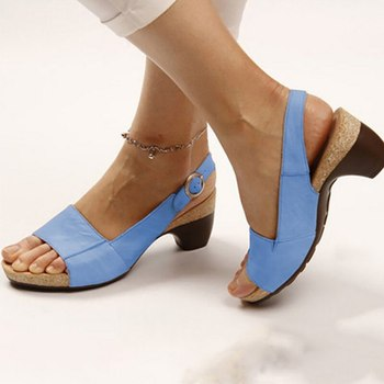 Women's Gladiator Sandals Buckle Strap Woman Chunky Heels Peep Toe Ladies Casual Shoes Female Summer Sandalias image