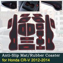 Almofada de copo de borracha porta antiderrapante para honda CR-V 2012 ~ 2014 4th gen facelift cr v crv 2.0 2.4 sulco esteira acessórios interiores do carro