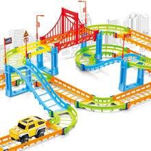 Diy электрический гоночный автомобиль дети поезд трек модель