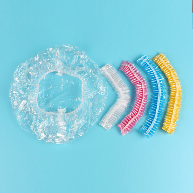 20PCS Disposable Shower Cap Plastic Waterproof Transparent Color Shower Hat Hotel For Travel Home One Time Bathroom Products