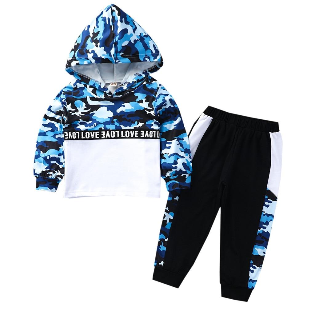 Mode Camouflage Jungen Kleidung Trainingsanzug Kleinkind Baby Brief Hoodie Pullover Sweatshirt Tops + hosen Junge Outfits 3-8t kinder Kleidung