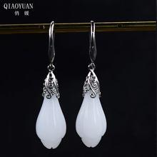 Женские серьги из серебра 925 пробы с нефритом Золотые сережки