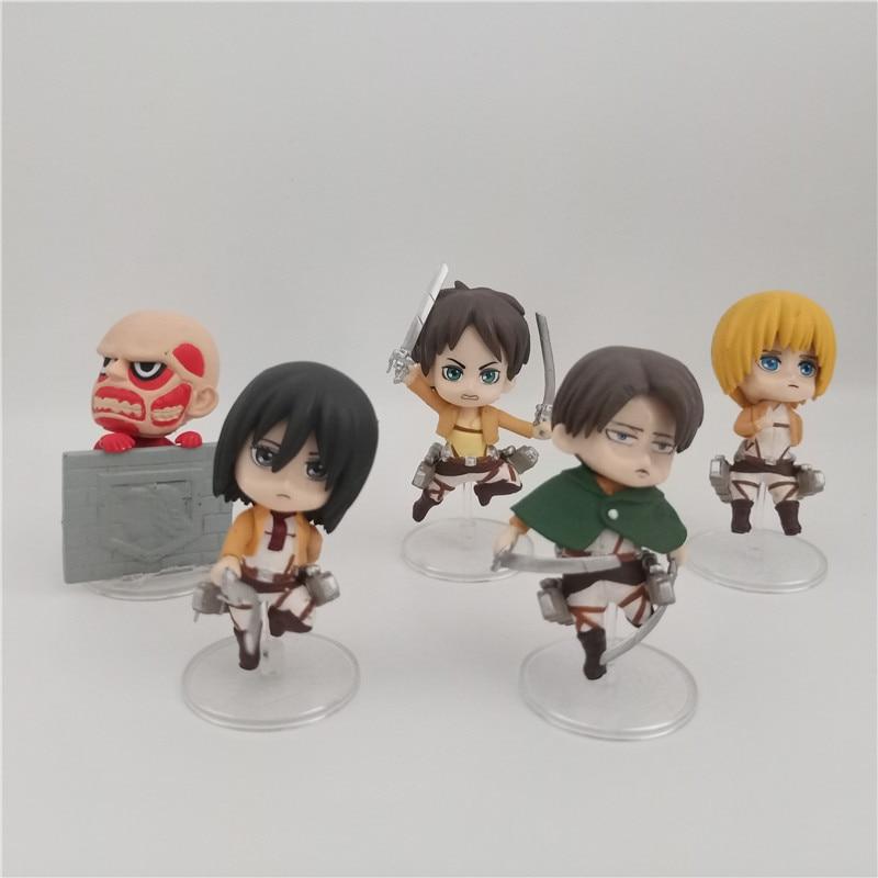 5pcs/set Attack on Titan Action Figure Toys Eren Mikasa Armin Rivaille Cute Mini PVC Figures Dolls