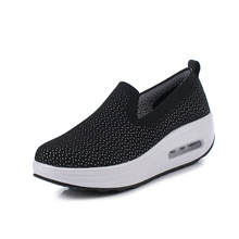 Brand Sport Shoes Women Thick Sole Shoes Slip on Platform Shoes Ladies Toning Sneakers Wedge Sneakers Breathable Rocking Shoes