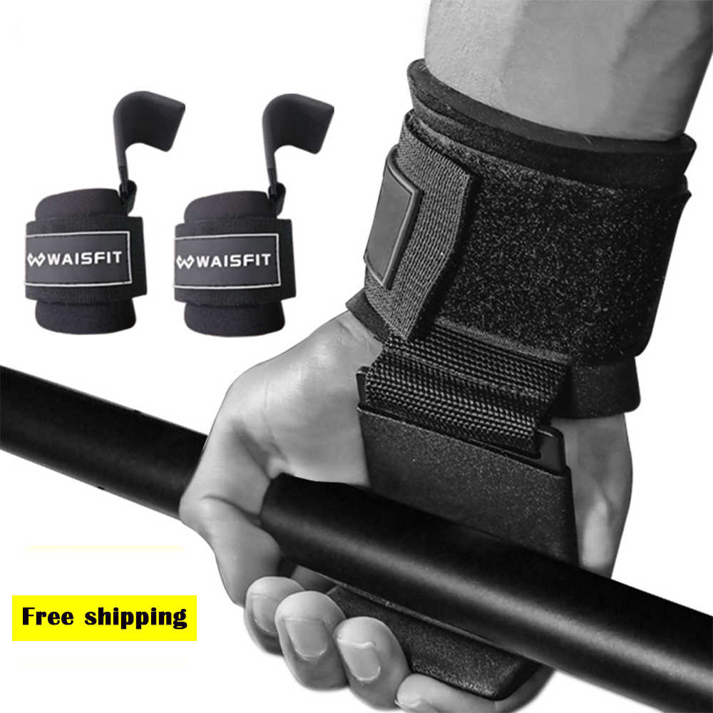 Weight Lifting  Hooks Wrist Grip Straps Gloves Best Steel Pull Up Bar Support