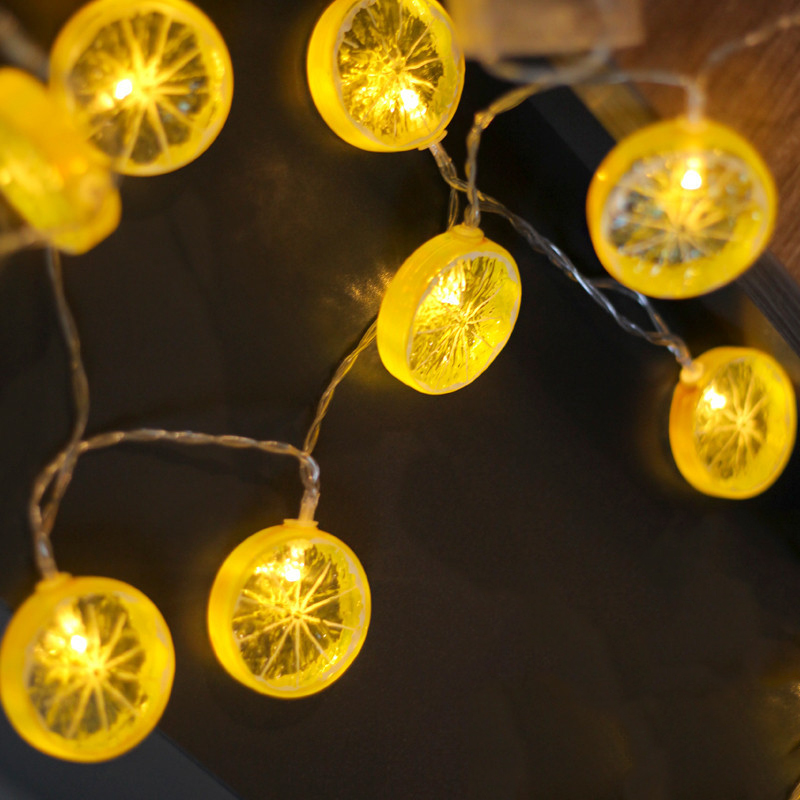5M 40LED Lemon Slice String Fairy Light Waterproof Fruit Battery Power Christmas Garland For Christmad Party Wedding Decoration