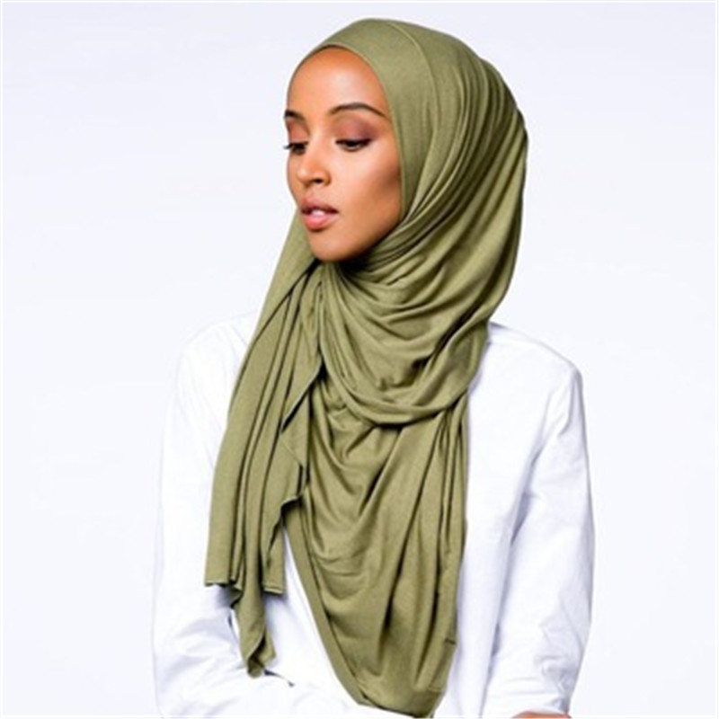 Soild Color Cotton Scarf Hijab For Muslim Women Stretch Jersey Headscarf Female Head Wrap Scarves Turban Foulard Femme Musulman
