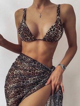 Sexy 3 Piece Swimsuit Women Tie Dye Push Up Padded Biquini Brazilian Summer Bathing Suit Thong Bikini  Swimwear Women Skirt 10