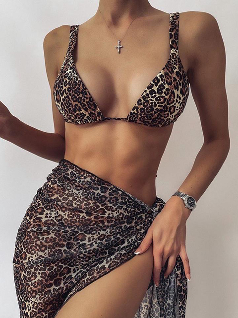 Sexy 3 Piece Swimsuit Women Tie Dye Push Up Padded Biquini Brazilian Summer Bathing Suit Thong Bikini Swimwear Women Skirt