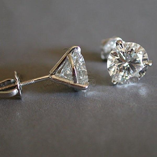 Cute Boho Female Three-Prong Martini Stud Earrings Elegant Wedding Earrings For Women Crystal Zircon Double Earrings