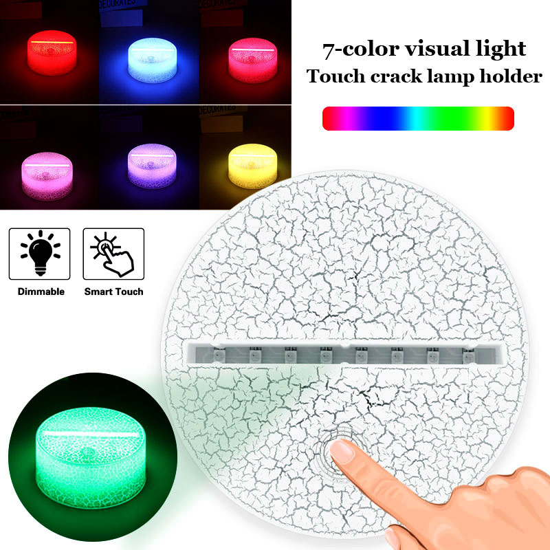 Light Base Touch Lamp Bases Lamp Holder Home Wedding Decor Lighting Fixture Crack Pattern 3D Modern Luminous Indoor Display