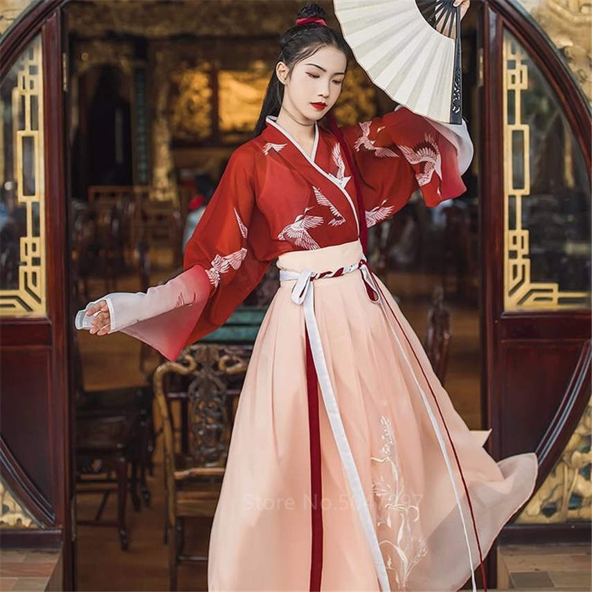 Ancient Chinese Traditional Clothing Hanfu Women Girls Stage Performance Folk Dance Costume Crane Pattern Gradual Gauze Dress