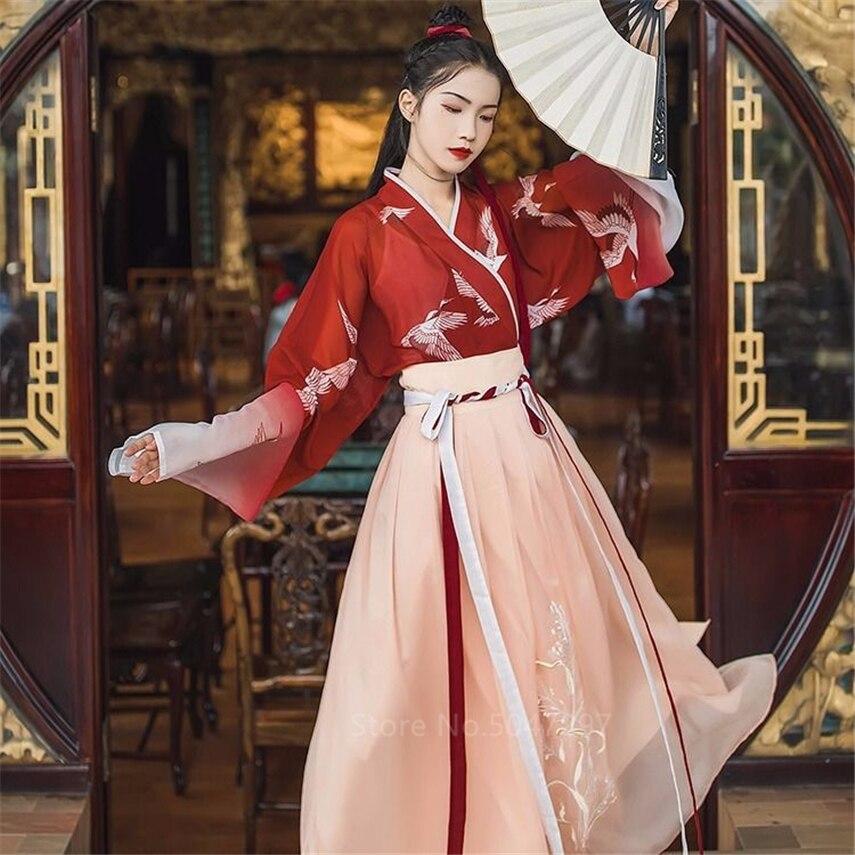 Ancient Chinese Traditional Clothing Hanfu Women Girls Stage Performance Folk Dance Costume Crane Pattern Gradual Gauze Dress