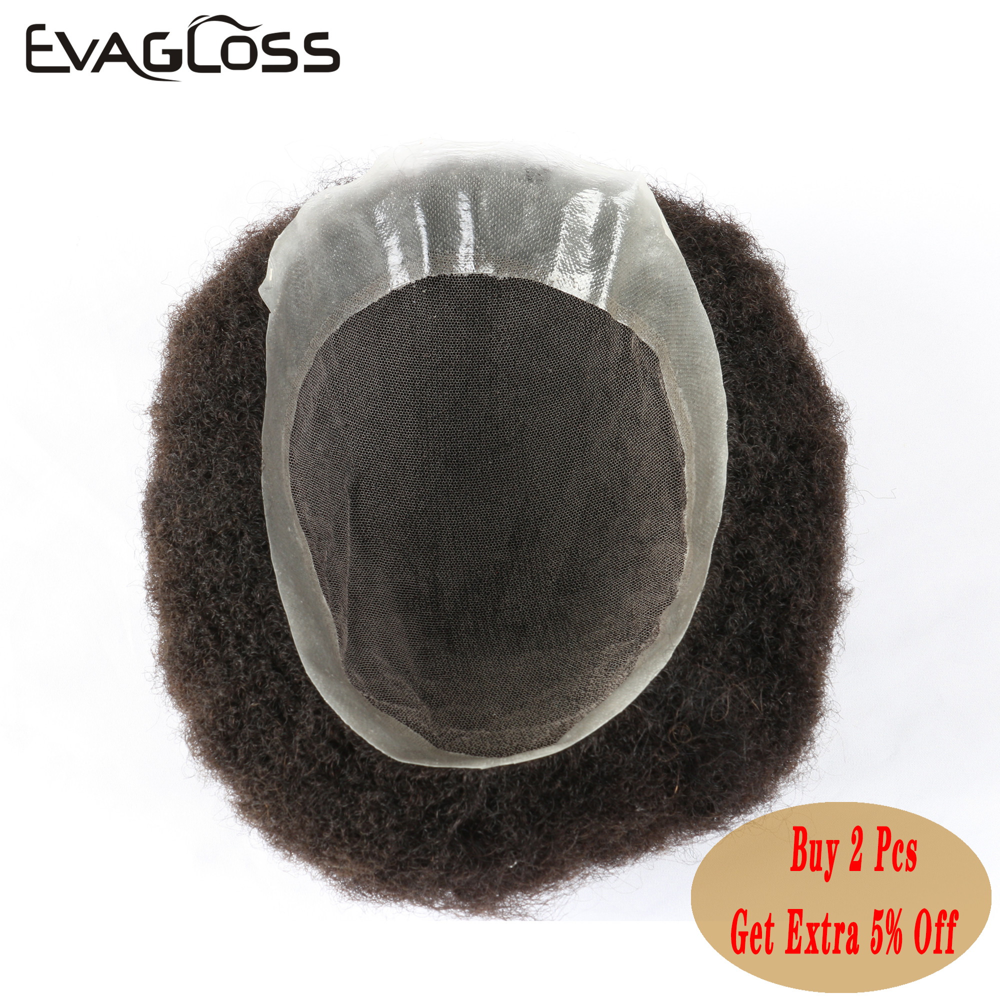 EVAGLOSS Fast Shipping Men Wig Kinky Curly Color Swiss Lace With Thin PU Base Human Hair Men's Toupee Wig For Black Men