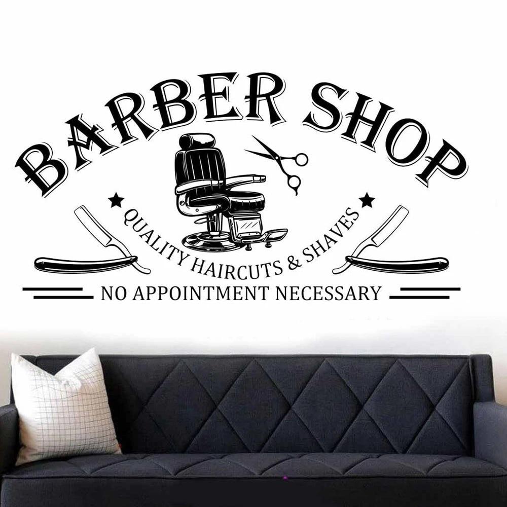 Barber Shop Hairdresser Salon Hair Wall Art Stickers Decals Vinyl Home Room Deco Medium,Black