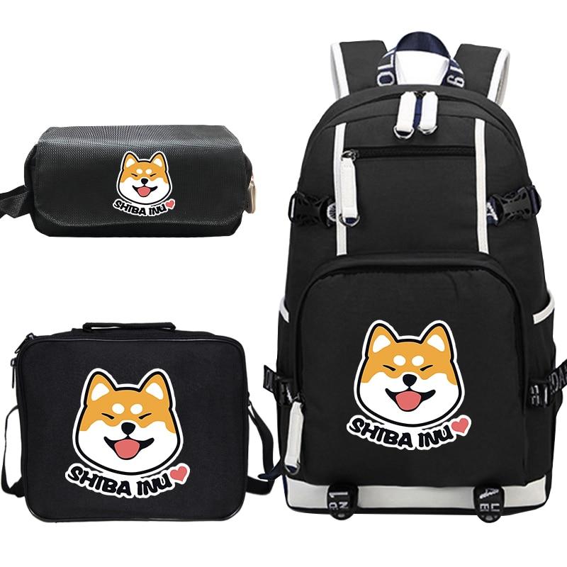 Cute Funny Shiba Inu Dog Backpack Sets For Teenage Girl Boy School Bag Women Men Casual Backpack Children Travel Book Bag
