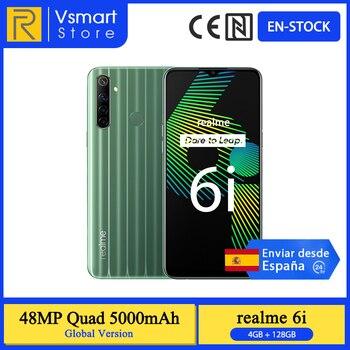 Перейти на Алиэкспресс и купить В наличии глобальная версия Realme 6i смартфон 4 Гб 128 6,5 'Экран Helio G80 48MP Quad камеры 16MP Передняя камера 5000mAh 18W зарядное устройство