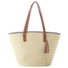 Женская простая соломенная сумка на плечо с кисточками, летняя пляжная сумка на молнии, модная дорожная сумка через плечо, 3 стиля