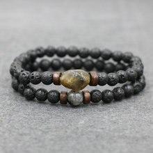 2pcs/ set Bracelets Natural Lava Stone Beads Bracelet Men Moonstone Chakra Bracelet For Men Jewelry Bead Pulseira Bileklik