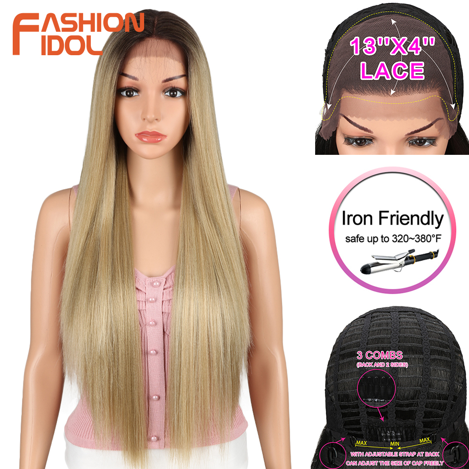 FASHION IDOL 13X4 Lace Front Wig For Black Women 32 Inch Heat Resistant Straight Wigs Blonde Natural Synthetic Wigs Cosplay Hair
