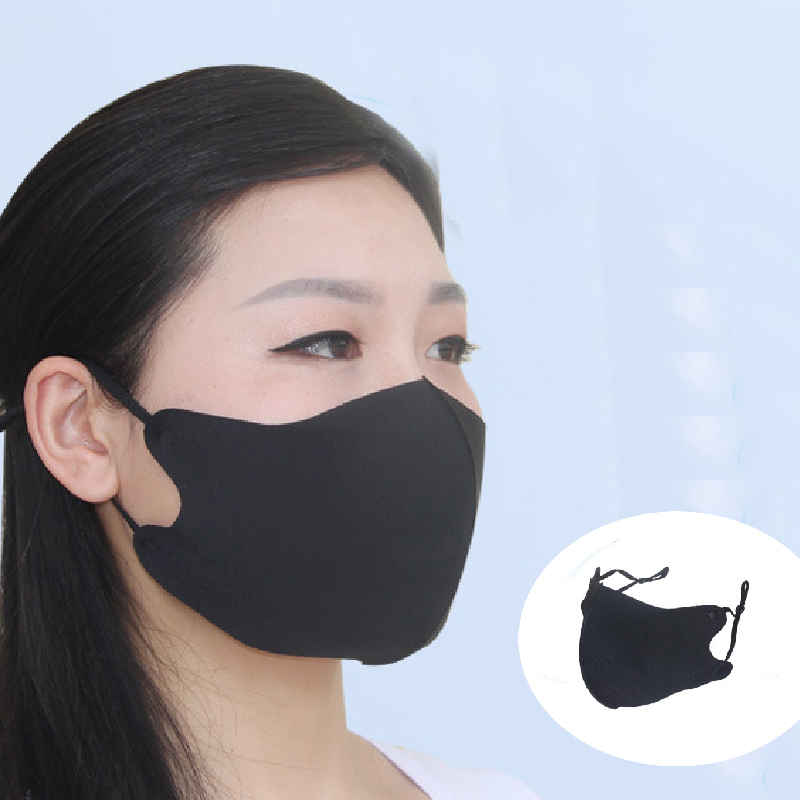 Black Ice Silk Cotton Sun Protect Mouth Mask Anti Haze Dust Washable Reusable Dustproof Mouth-muffle Wind Proof Mask Adjustable