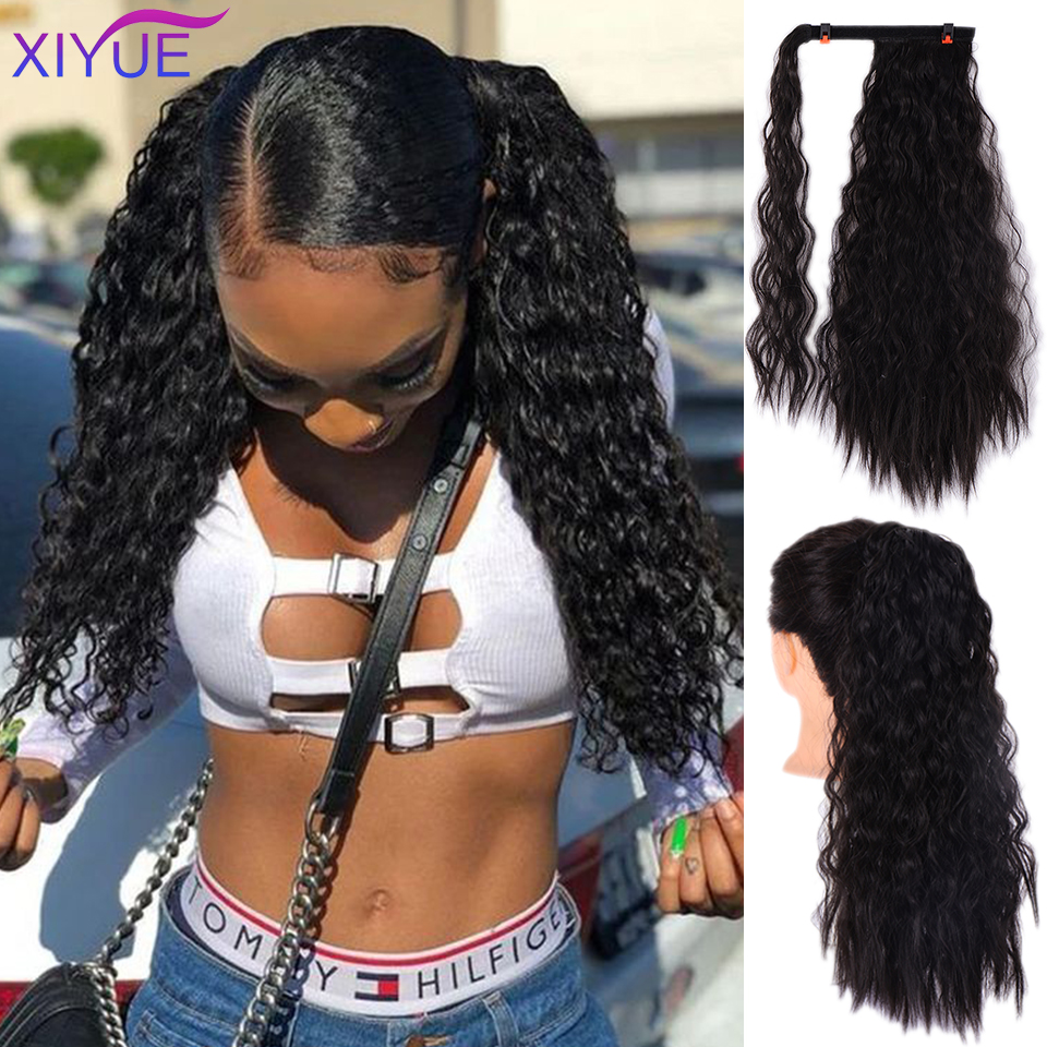 Long Afro Ponytail Synthetic Hairpiece Wrap On Clip Hair Extensions Corn Wavy Pony Tail Long Afro Curly Corn Hair Headwear