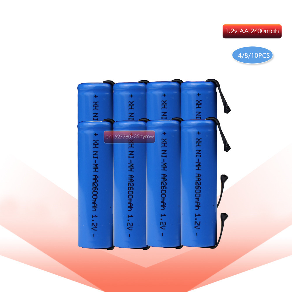 4/8/10pcs 1.2V AA rechargeable battery 2600mah 2A ni-mh nimh cell blue shell with tabs pins Braun electric shaver toothbrush image