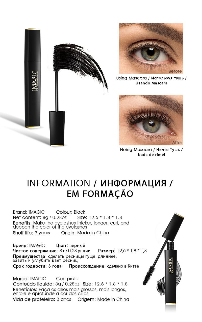IMAGIC Set Combinatie Wimper Krullend en Lang Mascara Waterdichte Langdurige EyelinerProfessional Eyebrow Gel 6 Colors Eyebrow