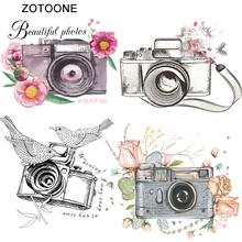 ZOTOONE Iron on Patches for Clothing Fashion Art Camera Bird Clothes Stickers Printed Heat Transfer DIY Vinyl Ironing Applique G zotoone printed drink beer heat transfers vinyl ironing clothes stickers iron on patches for clothing diy cocktail appliques e