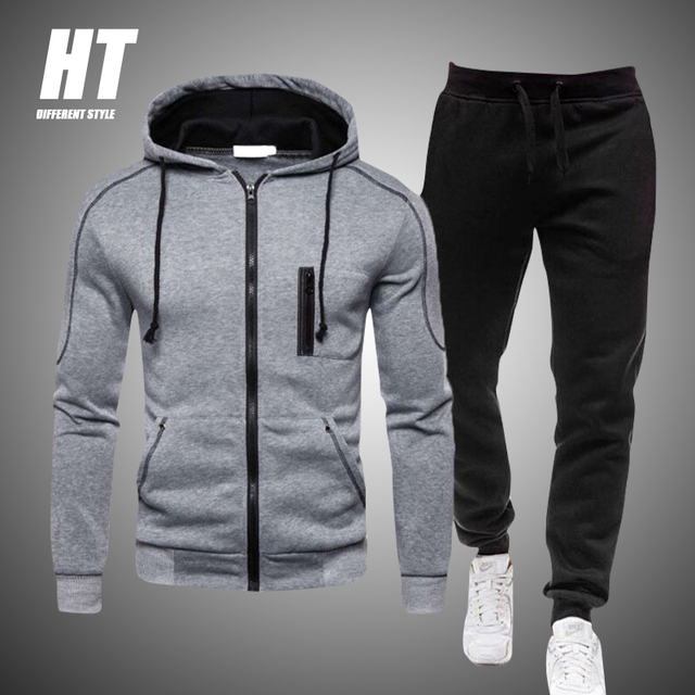 2 Pieces Sets Tracksuit Men Autumn Zipper Hoodie Sweatshirt+pants Solid Sporting Fitness Hooded Outerwear Jacket Joggers Suit 1