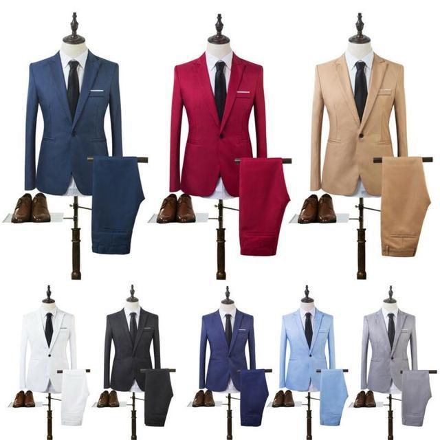 Costume Homme Mens Blazer Suit Ensembles Slim Tuxedo Coat Pants Formal Evening Dinner Wedding Groom 1