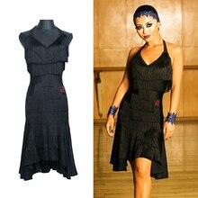 Vestido de baile latino negro para mujer ropa de alta calidad con flecos para Salsa, Samba, Rumba, sin mangas, ropa de baile con borlas, DC1049