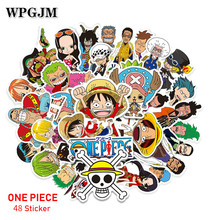 цены 48 Pcs/Lot Anime 2019 ONE PIECE Luffy Stickers for Car Laptop PVC Backpack Home Decal Pad Bicycle  Waterproof Decal
