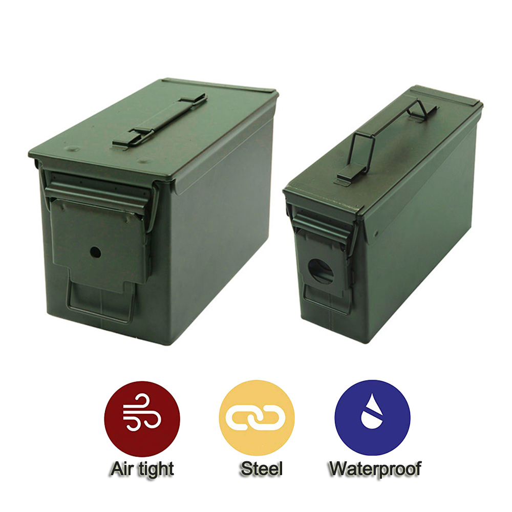 30+50 Cal/Sets Metal Ammo Case Can Waterproof Military and Army Solid Steel Holder Box for Long Term Bullet Valuables Storage-in Safes from Security & Protection on LJMY Store