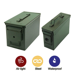30+50 Cal/Sets Metal Ammo Case Can Waterproof Military and Army Solid Steel Holder Box for Long-Term Bullet Valuables Storage