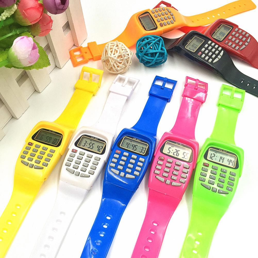 Fashion Digital Calculator With LED Watch Function Casual Silicone Sports For Kids Children Multifunction Calculating