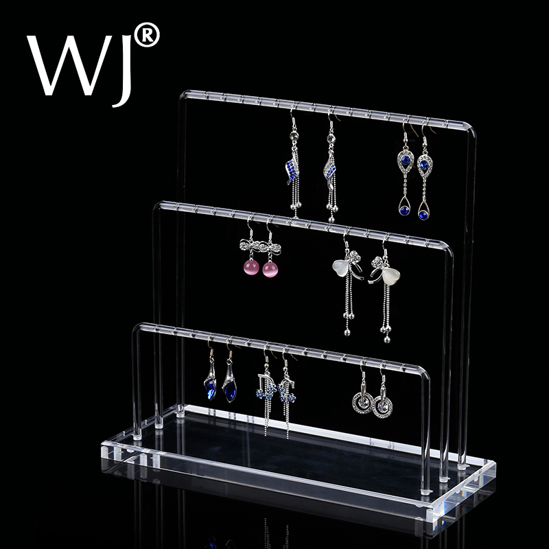 Newest N Shaped Tall Acrylic Earrings Jewelry Display Rack Stand Dangle Eardrop Hanger Presenting Shelf With Bars Holder Case