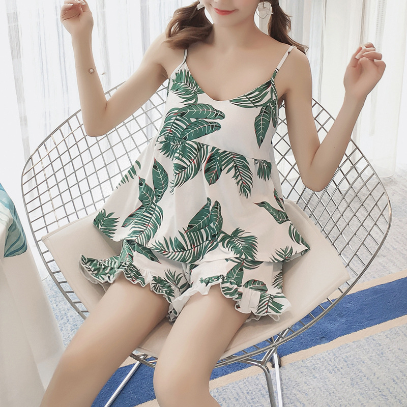 Korean-style With Chest Pad Pajamas Female Summer GIRL'S Cute Camisole Modal Cotton Viscose Home Wear Short Sleeve Two-Piece Set