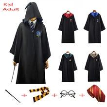 Écharpe cape d'halloween, Slytherin et Ravenclaw bouffante, Robe Cosplay, Costume de potter pour enfants et adultes