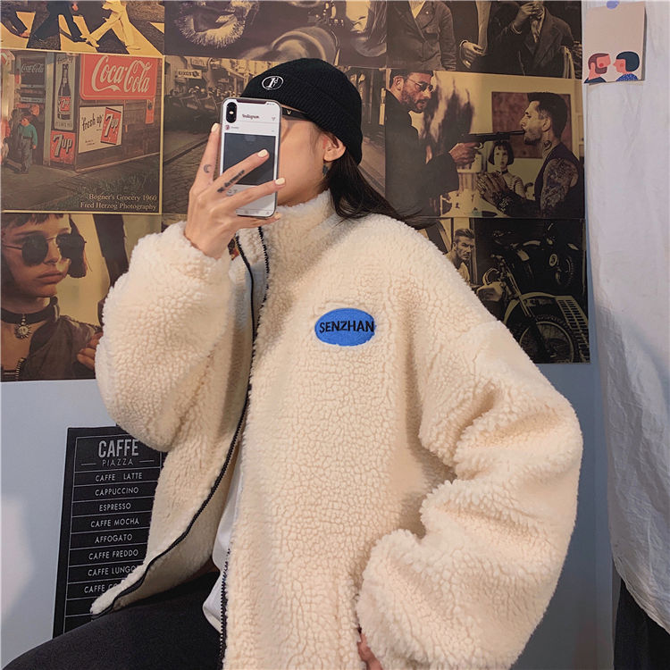 2020 Faux lamb wool coat winter clothes women zipper sweatshirt all-match thinner stand collar cardigan harajuku hoodie women 5