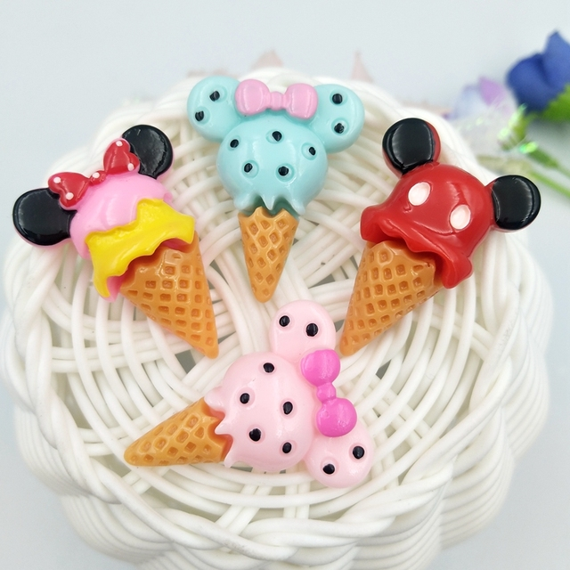10pcs Mini Mickey ice cream Resin flatback Cabochons Accessories For Hair Clothing Shoes Planar DIY Home Decoration 1