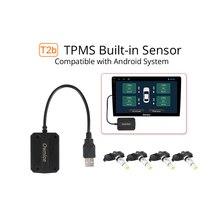 جهاز إنذار لمراقبة ضغط الإطارات مزود بـ USB TPMS يعمل بنظام تشغيل أندرويد 8.1 مع 4 أجهزة استشعار خارجية/داخلية للسيارات راديو السيارة