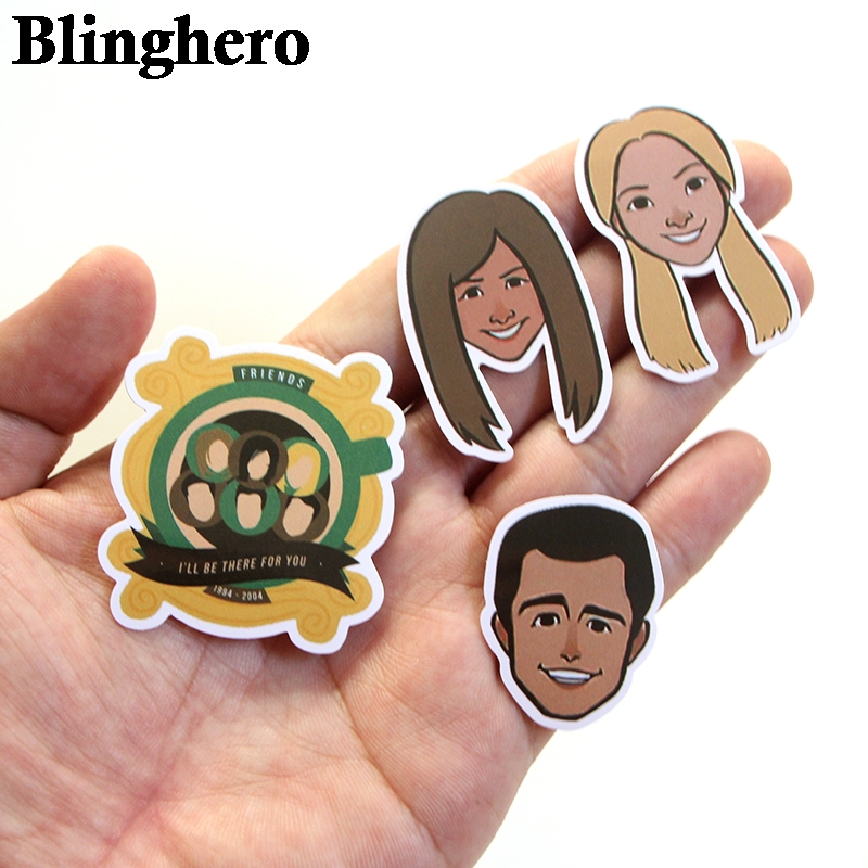 Купить с кэшбэком Blinghero 34pcs Friends Tv Show Fans Gift Decoration Stickers for DIY Scrapbooking Album Luggage Laptop Phone Sticker Decal